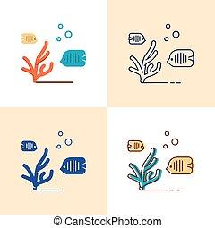 płaski, styl, komplet, koralikowe morze, kreska, ryba ikona