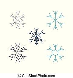 płaski, styl, komplet, płatki śniegu, odizolowany, ilustracja, tło., wektor, biały