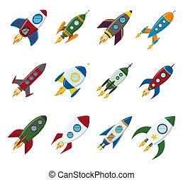 płaski, styl, komplet, rakieta, przestrzeń, wektor, retro,...