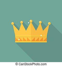 płaski, styl, korona, ikona