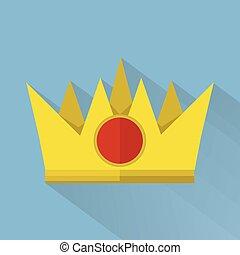 płaski, styl, korona, ilustracja, długi, cień