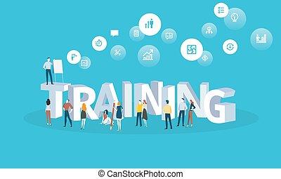 płaski, styl, kursy, sieć, trening, wykształcenie, specjalizacja, retraining, projektować, online, trening, chorągiew, personel