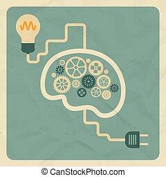 płaski, styl, lekki, concept., ilustracja, mózg, wektor, retro, innowacja, bulb.