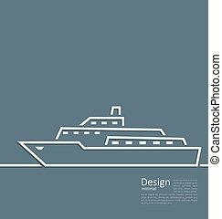 płaski, styl, logo, kreska, statek, minimalny