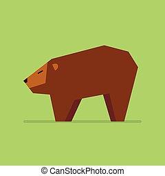 płaski, styl, niedźwiedź