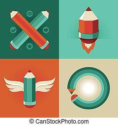 płaski, styl, ołówki, ikony, -, wektor, znaki
