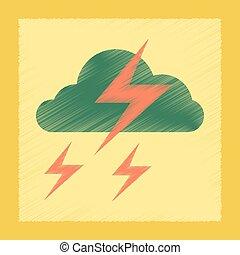 płaski, styl, piorun, cieniowanie barw, chmura, ikona