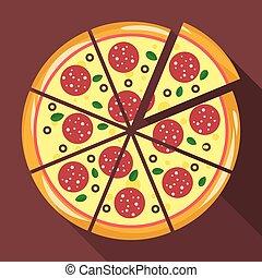 płaski, styl, pizza