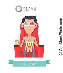 płaski, styl, pojęcie, film, dramat, wektor
