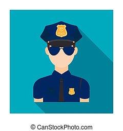 płaski, styl, policja, illustration., symbol, odizolowany, tło., wektor, oficer, biały, ikona, pień