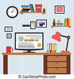 płaski, styl, projektant, biurowe ikony, pokaz, nowoczesny, desktop, zastosowanie, wewnętrzny, wektor, projektować, minimalista, interfejs, color., elementy