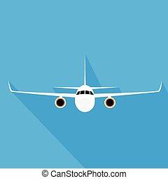 płaski, styl, przelotny, ilustracja, samolot, wektor,...