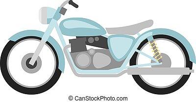 płaski, styl, retro, motocykl