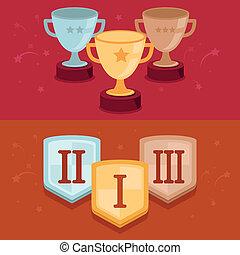 płaski, styl, rywalizacja, -, zwycięzcy, wektor, chorągwie