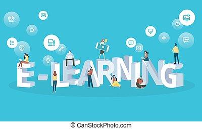 płaski, styl, sieć, e-oświata, wykształcenie, projektować, nauka, online, chorągiew, odległość