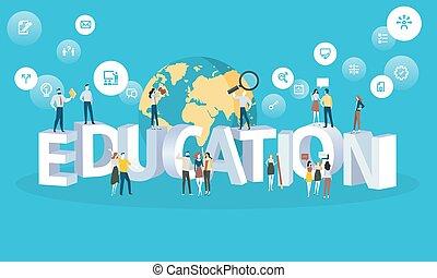 płaski, styl, sieć, uniwersytet, wszystko, wykształcenie, przyszłość, projektować, chorągiew, zawody