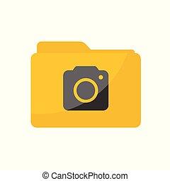 płaski, styl, skwer, zaokrąglony, minimalista, aparat fotograficzny, skoroszyt, ikona
