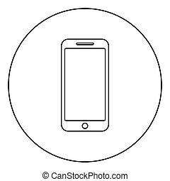 płaski, styl, smartphone, szkic, farbować wizerunek, ilustracja, wektor, czarne koło, okrągły, ikona
