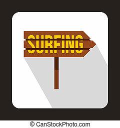 płaski, styl, surfing, słowo, znak, ikona, droga