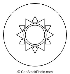 płaski, styl, szkic, kolor, słońce, wizerunek, ilustracja, wektor, czarne koło, okrągły, ikona