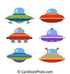 płaski, styl, ufo, set., statek kosmiczny, wektor, rysunek, ikona