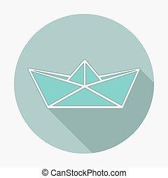 płaski, styl, wektor, illustration., długi, papier, cień, łódka, ikona