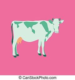 płaski, styl, wektor, ilustracja, krowa