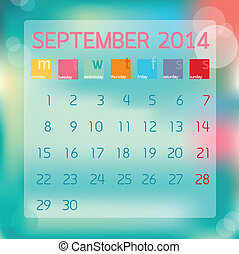 płaski, styl, wrzesień, ilustracja, tło, wektor, kalendarz, ...