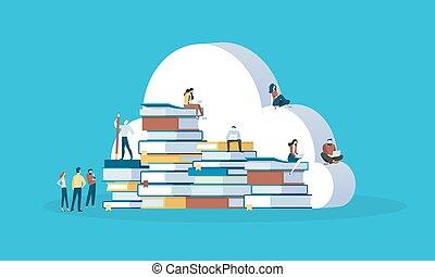 płaski, styl, wykształcenie, wiedza, sieć, baza, wykształcenie, projektować, online, chmura, chorągiew, ebooks