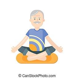 płaski, styl, yoga., ilustracja, wektor, starszy człowiek