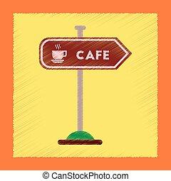 płaski, styl, znak, cieniowanie barw, kawiarnia, ikona