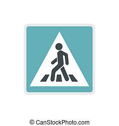 płaski, styl, znak, pieszy, ikona, droga