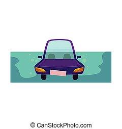 płaski, stylizowany, wektor, wóz., drowing, rysunek