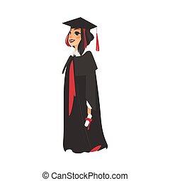 płaski, suknia, korona, absolwent, wektor, dziewczyna