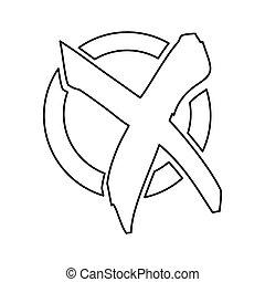 płaski, sylwetka, marka, x, czek, ikona