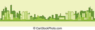 płaski, sylwetka, miasto, eco, wektor, zielony