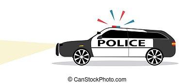 płaski, syrena, Policja, Ilustracja, Wóz, Wektor, projektować, barwny