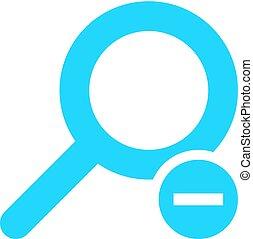 płaski, szkło powiększające, ikona, szkło powiększające, znak