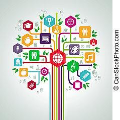 płaski, szkoła, sieć, ikony, wstecz, drzewo., wykształcenie