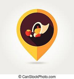 płaski, szpilka, cornucopia, mapping, żniwa, ikona
