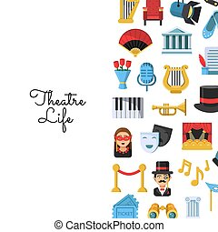płaski, teatr, ikony, tekst, ilustracja, wektor, miejsce, tło