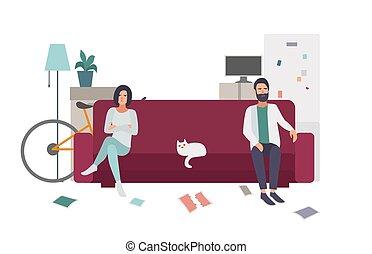 płaski, tokarski, barwny, rodzina, para, quarrel., leżanka, rozwód, precz, każdy, inny., illustration.