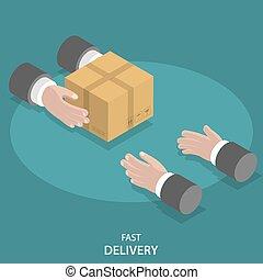 płaski, towary, concept., mocna dostawa, wektor