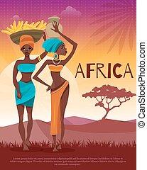 płaski, tradycje, afisz, plemienny, kultura, afrykanin
