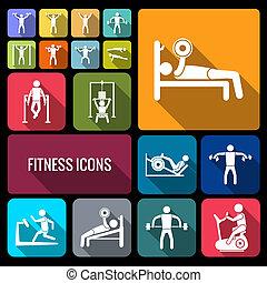 płaski, trening, komplet, trening, ikony