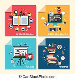 płaski, trening, pojęcie, ilustracja, projektować, wykształcenie