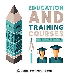 płaski, trening, pojęcie, styl, kursy, wektor, wykształcenie