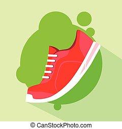 płaski, trzewik, wyścigi, wektor, bucik, sport, ikona
