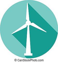 płaski, turbina, guzik, wiatr, ikona