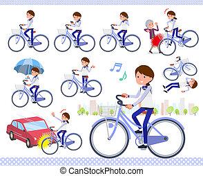 płaski, typ, zaopatrywać, personel, błękitny jednolity, women_city, cykl